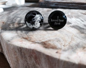 Personalized Cufflinks,  Father of the Bride silver cufflinks - photo cufflinks, I loved her first