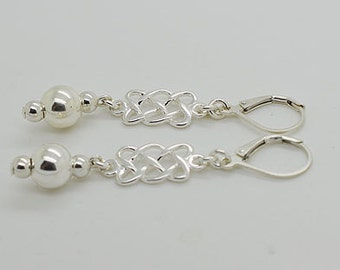 Sterling Silver Leverback Earrings Ball S14