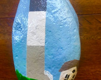 Hand Painted River Rock 2 Side Painted North Carolina Lighthouse Paperweight Door Stop Home Garden