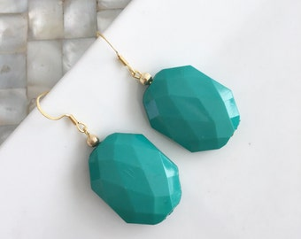 Turquoise Dangle Earrings Faceted Rectangle Bead