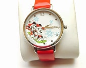 Reserved, Christmas Disney Mickey & Minnie Mouse Wrist Watch, silver Tone, Red plastic band, Clearance Sale, Item No. B129