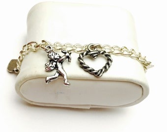 Cupid Bracelet, Silver Tone Hearts, Hand Made in the USA, Clearance Sale, Item No. B268