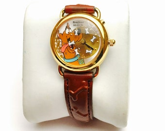 Vintage limited edition Armitron Scooby Doo watch, bone design Leather Band, , Clearance Sale, Item No. B200