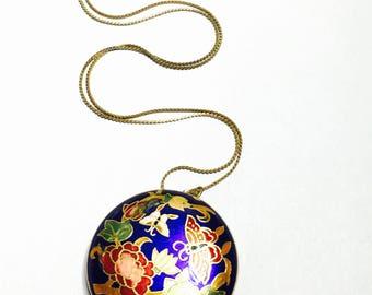Flower Cloisonne Pendant, Multicolor Enamel, Antique Gold Tone, Matching Necklace, item no. B304