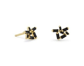 14 Karat Gold Plated over Sterling Silver Post Stud Earrings with Black CZs