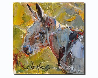 Originals oil Painting Donkey head on canvas panel Impressionism Animal Art 6x6""