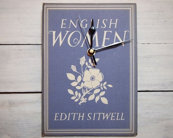 Blue vintage book clock English Women by Edith Sitwell (1942)