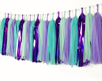 Mermaid Tassel Garlands, Purple Teal Paper Tissue Tassels, Mermaid Birthday Decor, Under the Sea Banner, Little Mermaid, Pre-Made, Backdrop