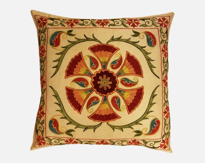 Hand Embroidered Suzani Pillow Cover SP7-04, Suzani Pillow, Uzbek Suzani, Suzani Throw, Boho Pillow, Decorative Pillows, Accent Pillows