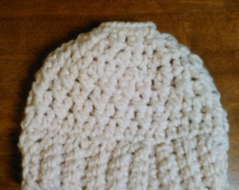 Off White Messy Bun Hat - Teen or Adult