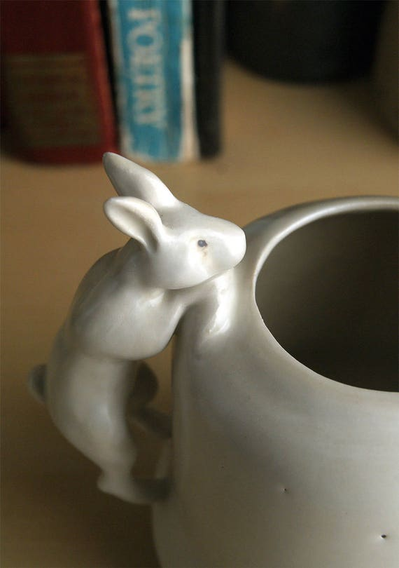 small rabbit pitcher - porcelain creamer - hand-built white