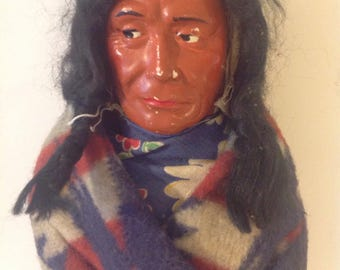 Skookum Indian Chief Doll c. 1930's, Native American Folk Art Doll,