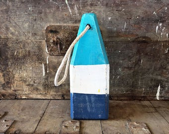 """Beach Decor, 12,5"""" Old-style lobster float buoy, Blue, White, Navy blue, Nautical by SEASTYLE"""