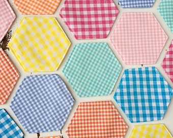 Hexagon Coasters Gingham Coasters Drink Coasters Fabric Coasters Large Coasters Hexagon Felt Coasters Mix and Match