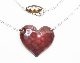 Purple Bubbles Vitreous Enamel  Heart Necklace