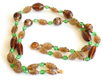 Vintage Glass Beaded Necklace, Double Strand, Brown, Gold and Green Beads, Sterling Clasp