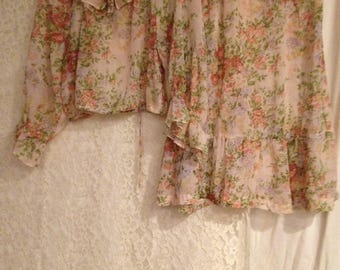 Lightweight Airy 2 PC Outfit - Pretty Pastel Flowers - BOHO 2 PC Outfit - Nice ruffle on Blouse and Skirt.