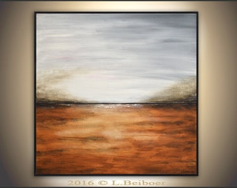 Landscape art painting original large painting 36x36 amber square abstract oil painting modern art by L.Beiboer