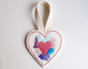 Embroidered heart ornament or wall hanging on cream muslin with a cream felt backing and canvas loop Valentines Day, Mothers Day