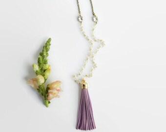 Purple Tassel Necklace - Long Leather Purple Tassel Necklace