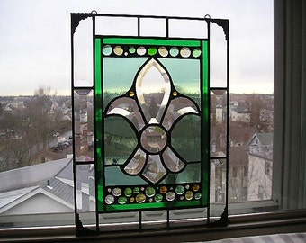 Fleur-de-Lis Stained Glass Panel|Fleur-de-Lis|Trinity Symbol|France|Art & Collectibles|Glass Art|Panel|Window|Handcrafted|Made in USA