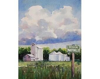Watercolor ORIGINAL - Entering Marysville - granary, farm, town, Idaho