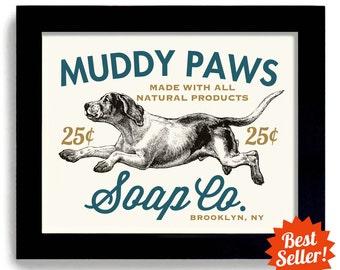 Laundry Room Decor Dog Art French a Country Home Art Soap Sign Wall Art Print Bathroom Art Mud Room Washing Machine