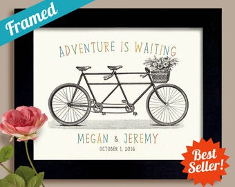 Personalized Bicycle Wedding Gift Art Print Unique Engagement Artwork Framed Art Print For Couple Anniversary Gift Keepsake Custom Wedding