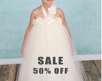 CLEARANCE SALE 50% OFF: Ready to Ship -  Flower Girl Tutu Dress - Ivory - Pearl Pizzazz - 5/6 Youth Girl - Cutie Patootie Designz