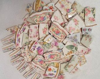 MOSAIC TILES - Vintage floral plate pink flowers