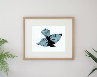 Bluebird Illustration Flying Bird Archival Art Print