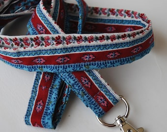 Keychain lanyard.Striped multicolored.  ID badge lanyard. Lobster Claw Clasp