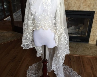 Fabulous Antique Edwardian Lace Wedding Veil