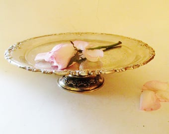 Vintage Cake Stand, Godinger 1991 Sweets Stand, Cupcake Tray, Footed Silver Stand