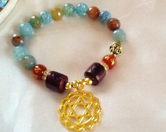 Chakra Merkaba pendant bracelet with dragon vein agate beads , yoga meditation bracelet , Star of David bracelet with gemstones