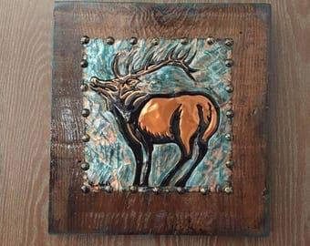 Rustic Wood and copper Elk Wall Hanging, Elk Home Decor, Mountain Decor, Cabin Decor, Rustic Wood, Tooled Copper, Cabin Wall Hanging