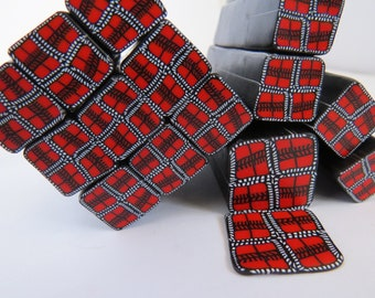 Polymer clay cane, plaid design, red and black plaid, red plaid, Unbaked polymer clay cane, clay art canes, raw polymer clay cane