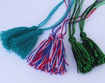 Tassels, white tassel, USA flag green, red blue & white, green and black tassel, Turquoise tassel, DIY craft supplies, 2 pieces