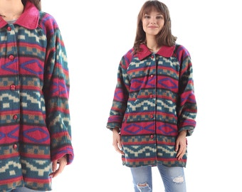 FLEECE AZTEC Jacket 90s Burgundy Red Green Raglan Sleeves Tribal Geometric Print Oversized Pockets Button Up Winter Blazer Soft Coat Large