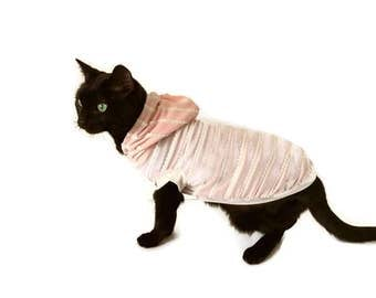 Blush Cat Hoodie-Cat Clothes-Cat Shirt-Sleeveless Cat Hoodie-Cat Clothing-Cat Sweater-Clothes for Cats-Cat Hoodies-Shirts for Cats
