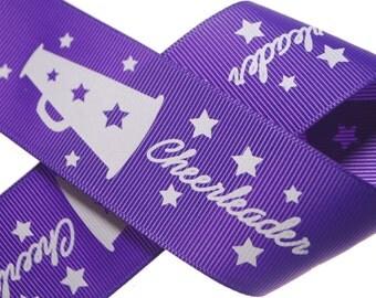 """1.5"""" Cheerleader Purple Printed Grosgrain - Three, Five, or Ten Yards"""