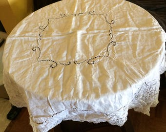 Antique White Linen And Lace Tablecloth Victorian Embroidered Turn Of Century Doily Linen
