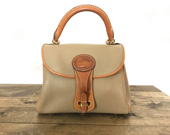 Vintage Early 80s Rare Dooney Taupe AWL  Satchel Bag (All Weather Leather)