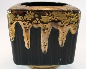 Retro Black and Gold Planter Vintage 50s