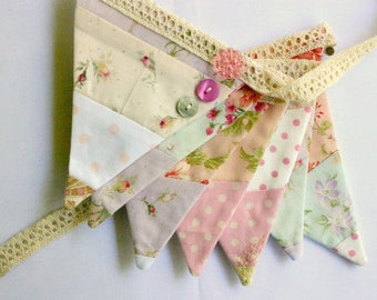 Mini Fabric Bunting - Sweet Shabby Bunting - Photo Prop, Party Decor, Fabric Garland, Nursery Decor