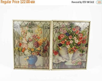 50% OFF Pair Reverse Painted Convex Bubble Glass Wall Hangings // Vintage Framed Lithographs of Colorful Flower Bouquets