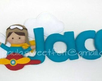 Cute aviator Sign / name banner / aviator / nursery decor