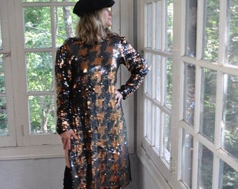 NEW YEARS SALE Sparkly Beaded Sequin Party Dress/Vintage 1970s/Copper Black Herringbone Plaid/Sexy High Slit/Sequins Rhinestones
