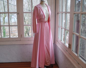 Sugar Pink Formal Coat/Vintage 1960s/Long Dupioni Silk Coat With Beading/Retro Prom Wedding Summer Coat/Size Small