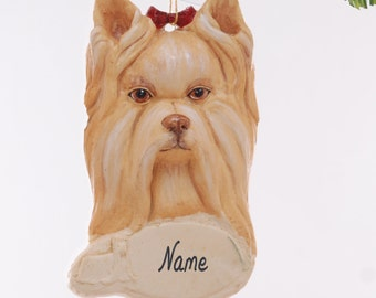 Yorkshire Terrier Dog Christmas Ornament, personalized with your favorite Yorkie's name hand made from resin by artist Melissa  (172)